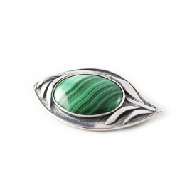 Unique silver brooch with malachite