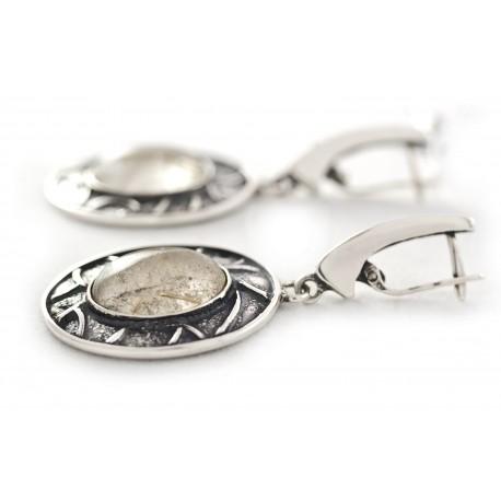 Unique silver earrings with smoky quartz