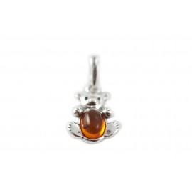 "Silver-amber pendant ""The Favourite Teddy"""