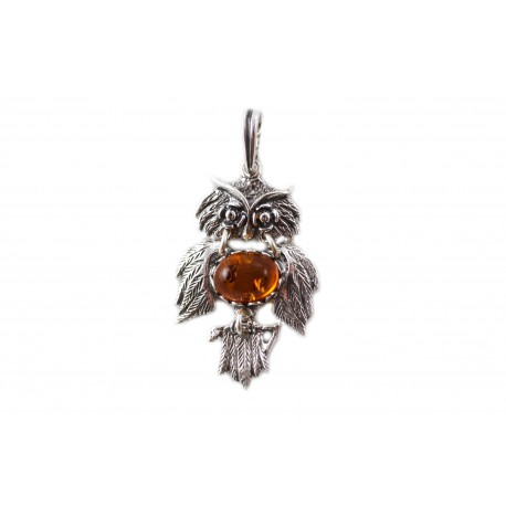 "Silver-amber pendant ""The Symbol of Wisdom"""