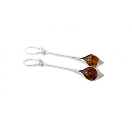 "Silver earrings ""Amber Calla Lily"""