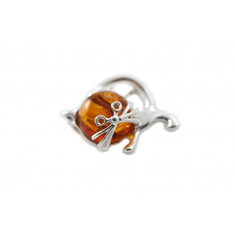 Silver cat with cognac-colored amber