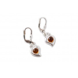 Silver earrings with cognac-colored amber eye