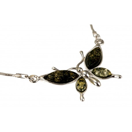 Silver butterfly with green and brown amber
