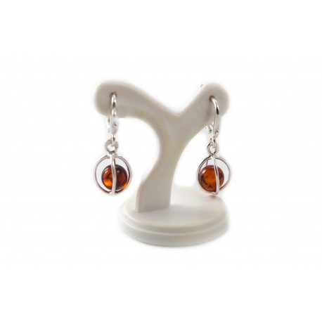 """Silver earrings with amber """"Protection"""""""