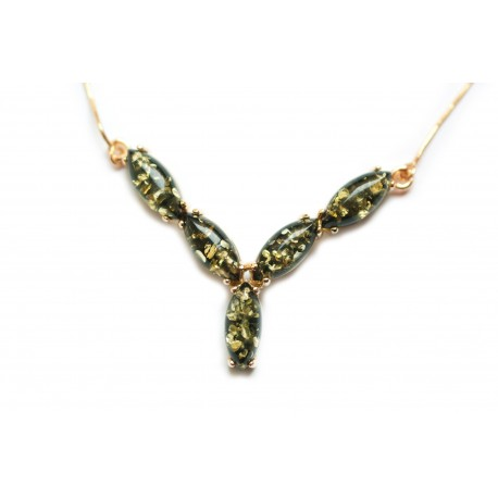 Golden necklace with green amber