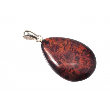 Silver pendant with cognac-amber