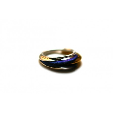 Silver ring with titanium and gold-plated brass