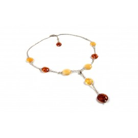 Silver necklace with lemon-colored, yellow and cognac amber