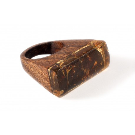 Wooden ring with greenish-lemon color amber