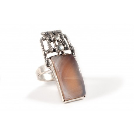 "Silver ring with agate ""Tenderness"""
