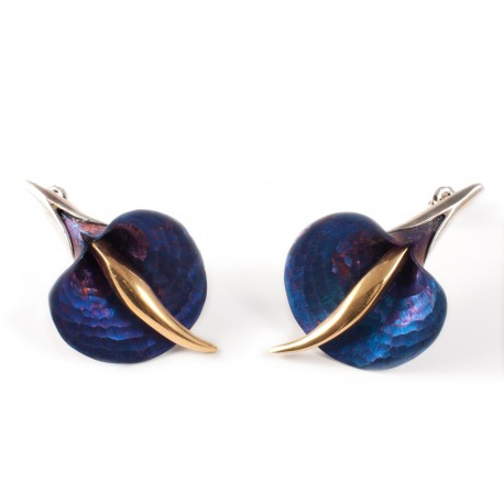 Silver earrings with titanium and gold-plated brass