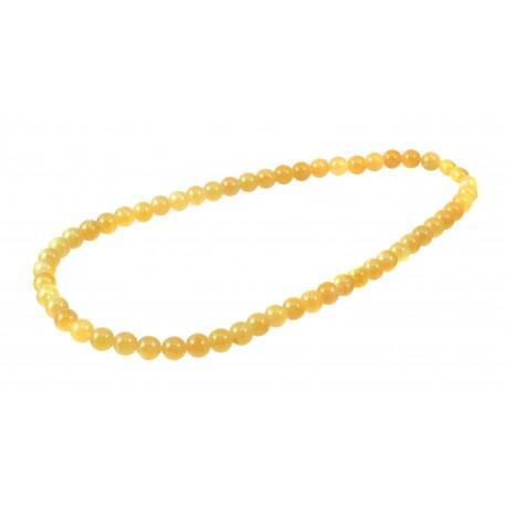 Round, yellow amber beads