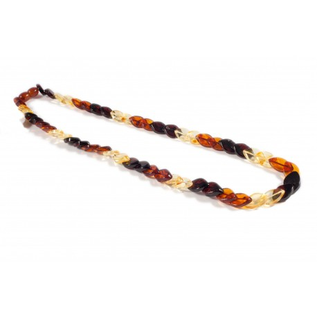 Tri-color amber necklace