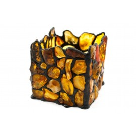 Natural amber decorated candlestick