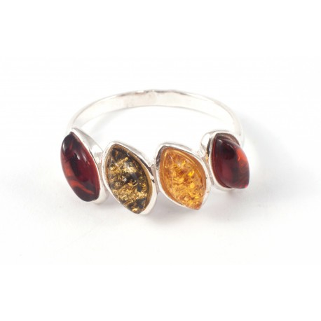 Silver ring with lemon-colored, green and intense cognac amber