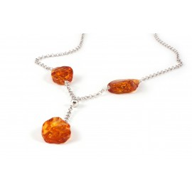 Silver necklace with cognac amber