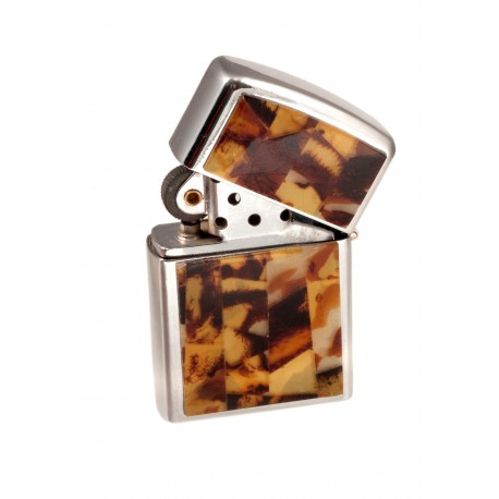 Quadrangle lighter decorated with amber