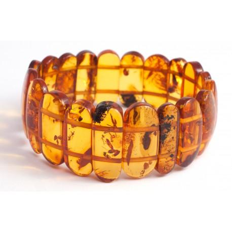 Crystal, light-cognac-color amber bracelet