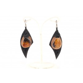 Black and light-brown leather earrings with amber