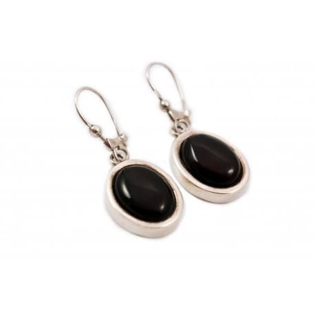 Silver, oval earrings with cherry amber