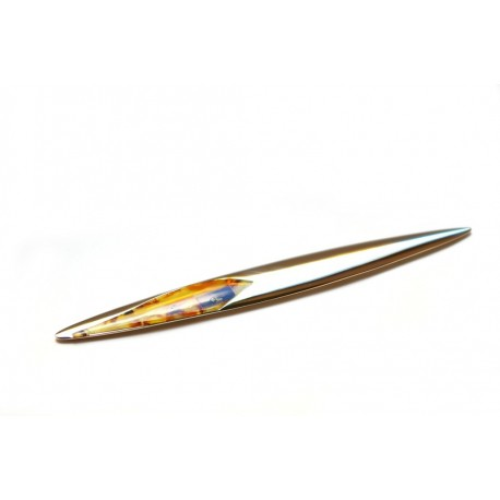 Feather shaped envelope knife decorated with amber