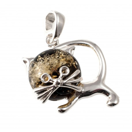 "Silver pendant with amber ""Cat"""