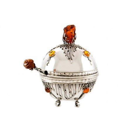Silver sugar bowl decorated with amber