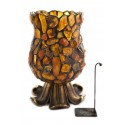 Candlestick decorated with natural Baltic amber