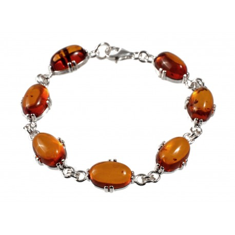 Silver bracelet with honey-color amber