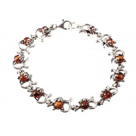Amber-silver bracelet