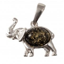 "Silver-amber pendant ""Elephant"""
