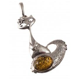 "Silver-amber pendant ""Cat"""