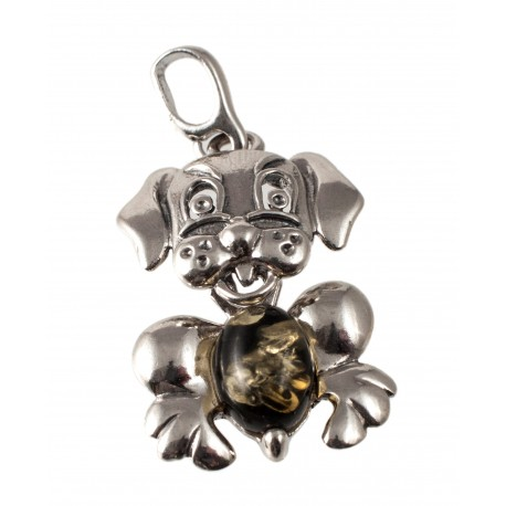"Silver-amber pendant ""Dog"""