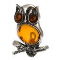 "Amber-silver brooch ""Owl"""