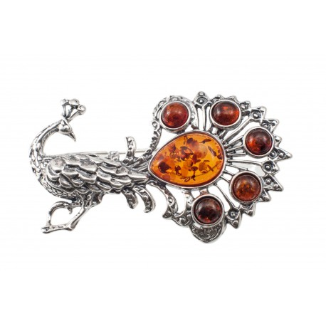 """Silver brooch with amber """"Peacock"""""""
