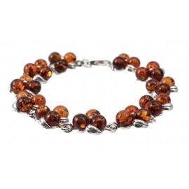 """Silver-amber bracelet """"Dew Droplets"""""""