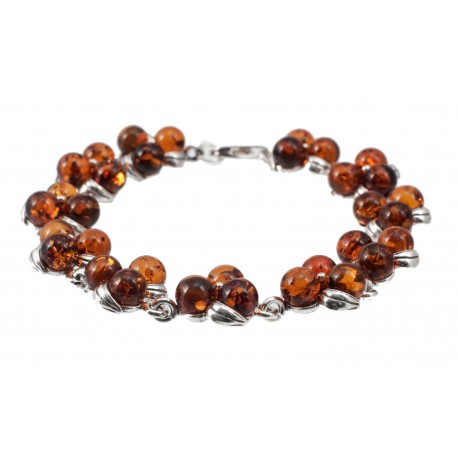 "Silver-amber bracelet ""Dew Droplets"""