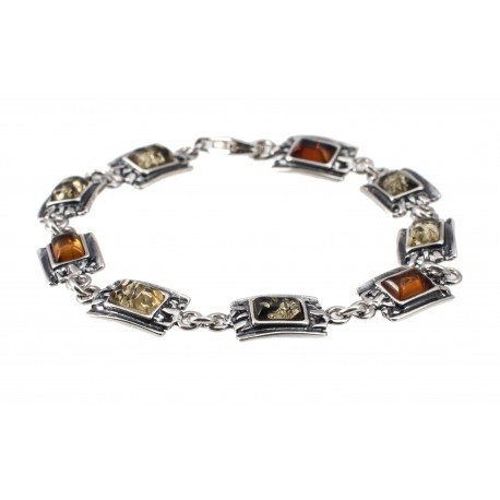 "Silver-amber bracelet ""Sea Stones"""