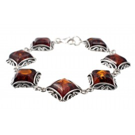 Silver bracelet with clear amber