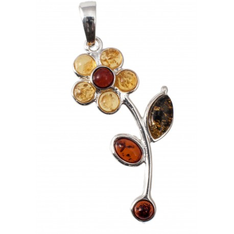Silver pendant with three-colored amber