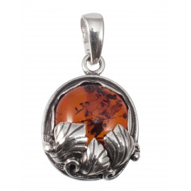 Silver pendant with cognac amber