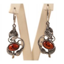Silver-amber earrings