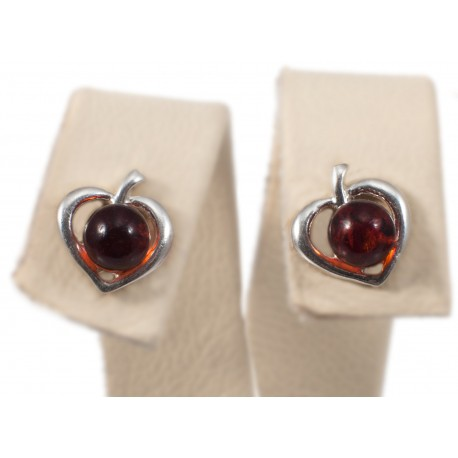Silver earrings with cognac-color amber
