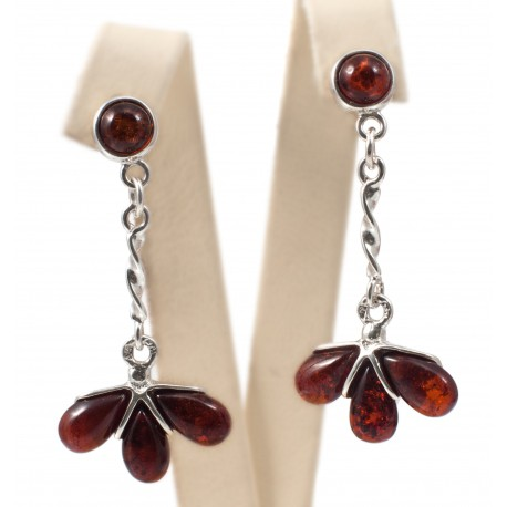 Amber-silver earrings