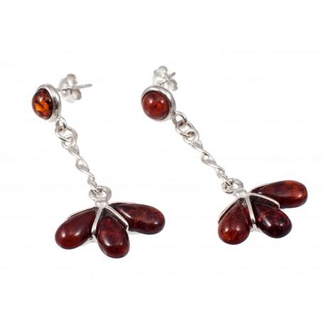 Amber-silver earrings