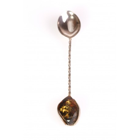 Silver teaspoon with amber
