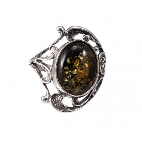 Amber-silver ring