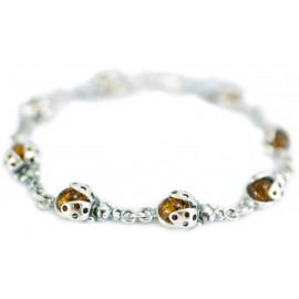 "Silver-amber bracelet ""Ladybirds"""