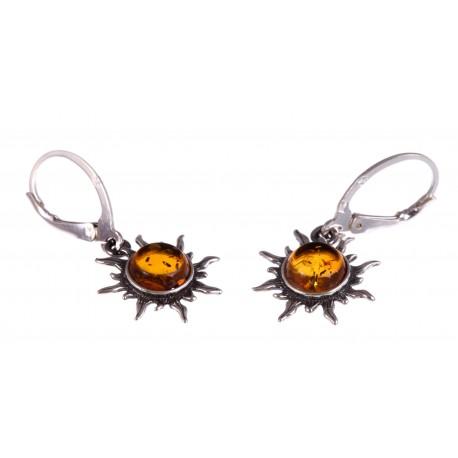 """Silver-amber earrings """"Sun"""""""